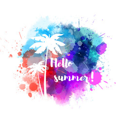 Summer watercolored splash with flower vector