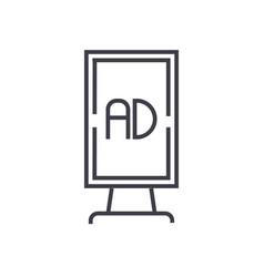 vertical billboard advertising line icon vector image
