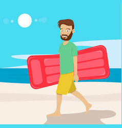 Young hipster man with air mattress on beach vector