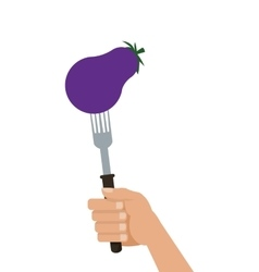 Eggplant on fork icon vector