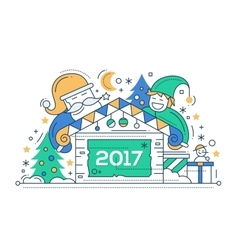 Merry christmas and happy new year - line design vector