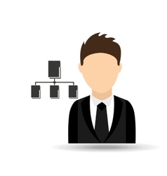 Character man with data base system design vector