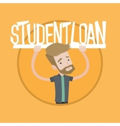 Young man holding sign of student loan vector