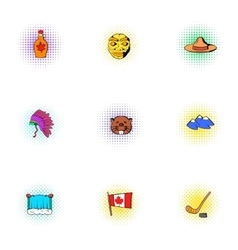 Attractions of canada icons set pop-art style vector