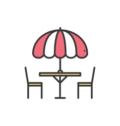 Thin line icons set table and chair outside vector