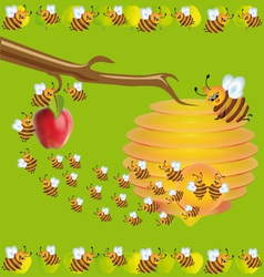 Bees and apples vector