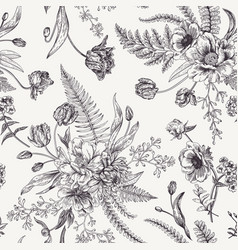 Seamless floral pattern with spring flowers vector