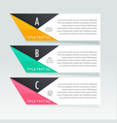 Stylish three steps infographic white banners vector