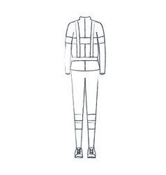 monochrome blurred silhouette of female uniform of vector image