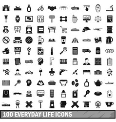 100 everyday life icons set simple style vector