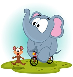 elephant on bike catches mouse vector image