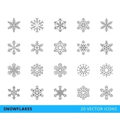 20 line snowflakes vector image