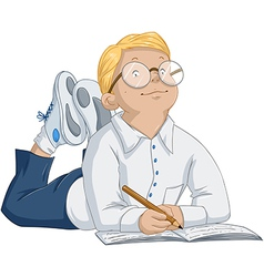 Smart boy with glasses laying and writing in vector