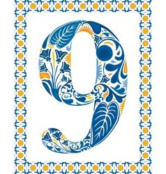 Blue number 9 vector image