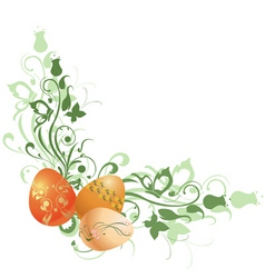 Floral frame decorated with easter eggs vector