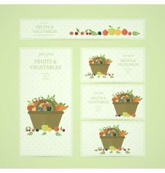 Business banners with fruits and vegetables vector