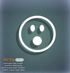 Shocked face smiley icon symbol on the blue-green vector