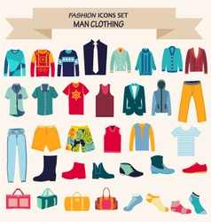 Fashion collection of man wardrobe vector