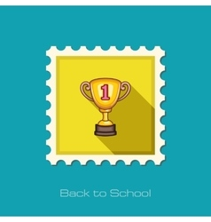 Winner cup flat stamp vector