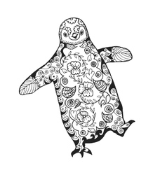 Cute penguin adult antistress coloring page vector