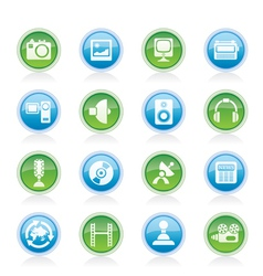 media and household equipment icons vector image