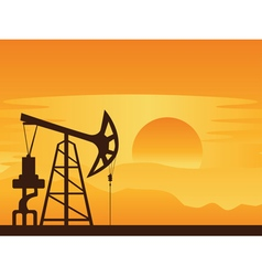 Oil pump at sunset vector