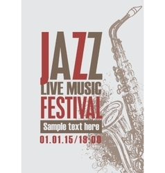 Jazz festival with a saxophone vector