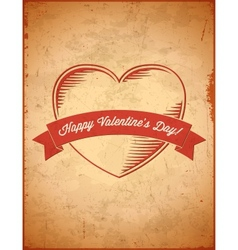 Aged vintage Valentines Day card with ribbon vector image vector image