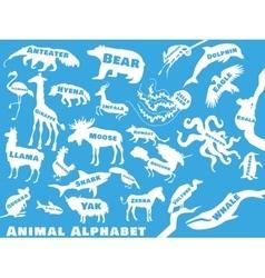 Animal alphabet poster for children animals vector