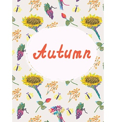 Autumn background template with pattern vector image
