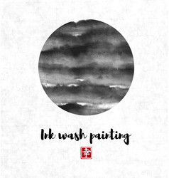 Black ink wash painting circle in oriental style vector