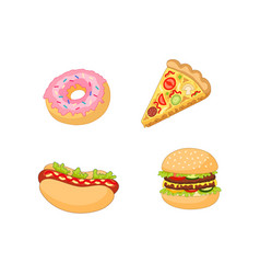 Burger hot dog pizza donut set vector