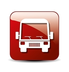 bus icon over square button isolated design vector image