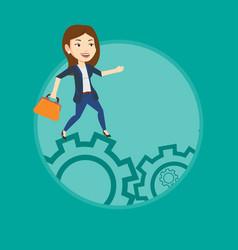 Business woman running on cogwheels vector