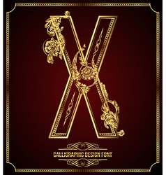 Calligraphic font Letter X vector image