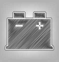 Car battery sign pencil sketch imitation vector