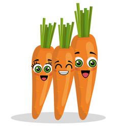 Carrots vegetables comic character vector