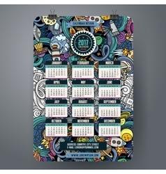 Cartoon doodles space 2017 year calendar vector
