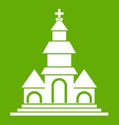 Church icon green vector