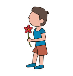 drawing son kid flower gift vector image