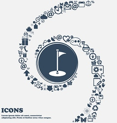 Golf icon in the center Around the many beautiful vector image