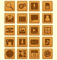 Leather emboss smartphone icon vector