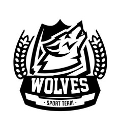 monochrome logo emblem howling wolf vector image vector image