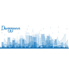 Outline dongguan skyline with blue buildings vector