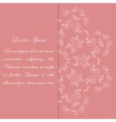 Pink card design with ornate floral pattern vector image vector image