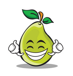 proud face pear character cartoon vector image vector image