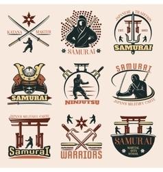 Samurai Colorful Emblems Set vector image vector image