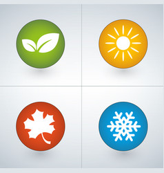 set of season icons in green yellow red and blue vector image