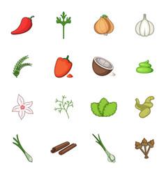 Spice icons set cartoon style vector