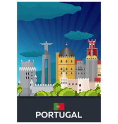 travel poster to portugal flat vector image